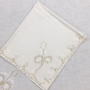 Other - Set of 6 silverware napkins with gold embroidery